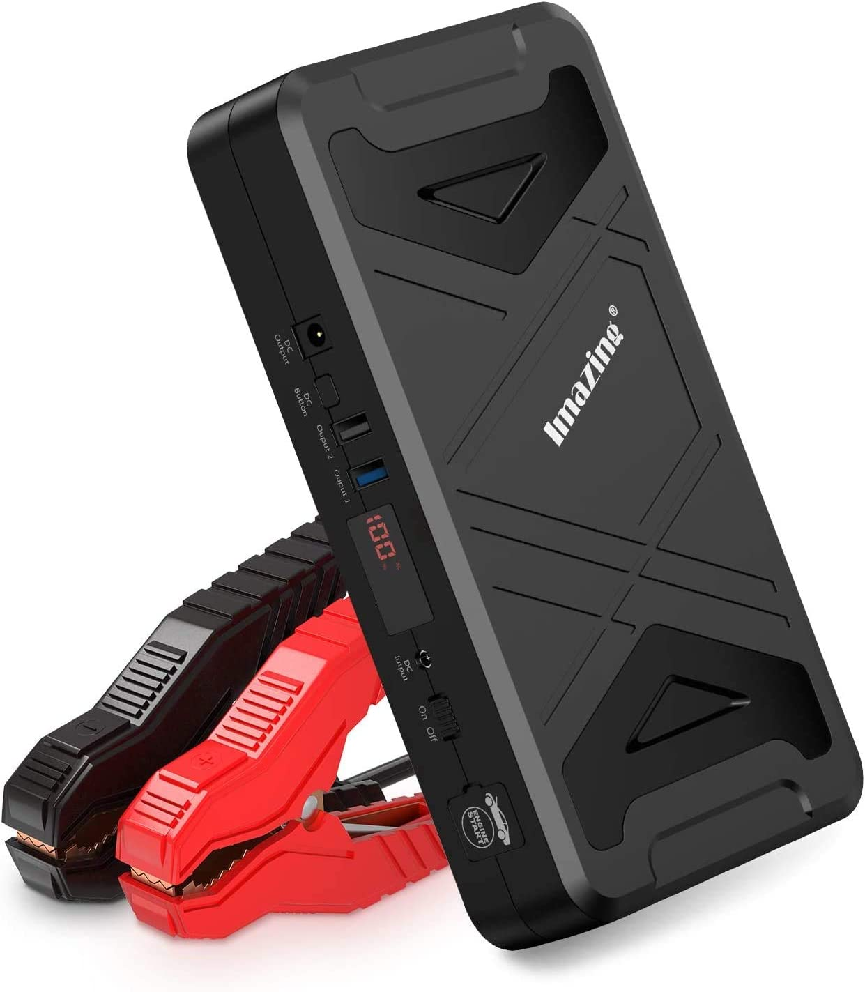 Imazing Portable Car Jump Starter - 2500A Peak 21000mAh (Up to 10L Gas or 10L Diesel Engine) 12V Lithium Auto Battery Booster Power Pack with Jumper Cables, 110V Inverter and QC 3.0