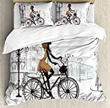 IDOWMAT Teen Room Decor Twin Duvet Cover Sets 4 Piece Bedding Set Bedspread with 2 Pillow Sham, Flat Sheet for Adult/Kids/Teens, Young Girl in Paris Streets with Bike French Display