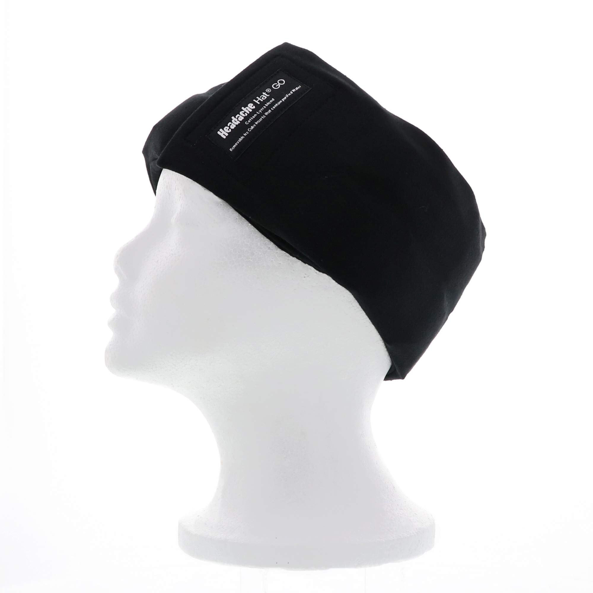 Headache Hat- GO (Black) Ice Pack for Migraine Headaches and Tension Relief, Extra Ice Mat Included