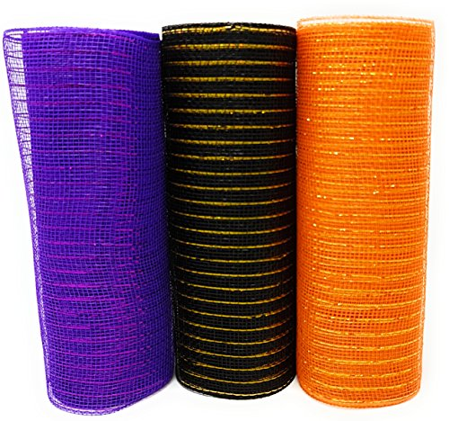 Halloween Decorative 10 Inch Wide, 10 Yard Mesh Rolls (Pack of 3) for Crafting Wire Wreaths (Purple, Orange, Black)]()