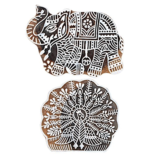 Hashcart Baren for Block Printing Stamps/Wooden Stamping Block/Handcarved Designer Craft Printing Pattern for Saree Border,Henna/Textile Printing,Scrapbooking,Pottery Crafts & Wall Painting,Set of (Designer Stamp)