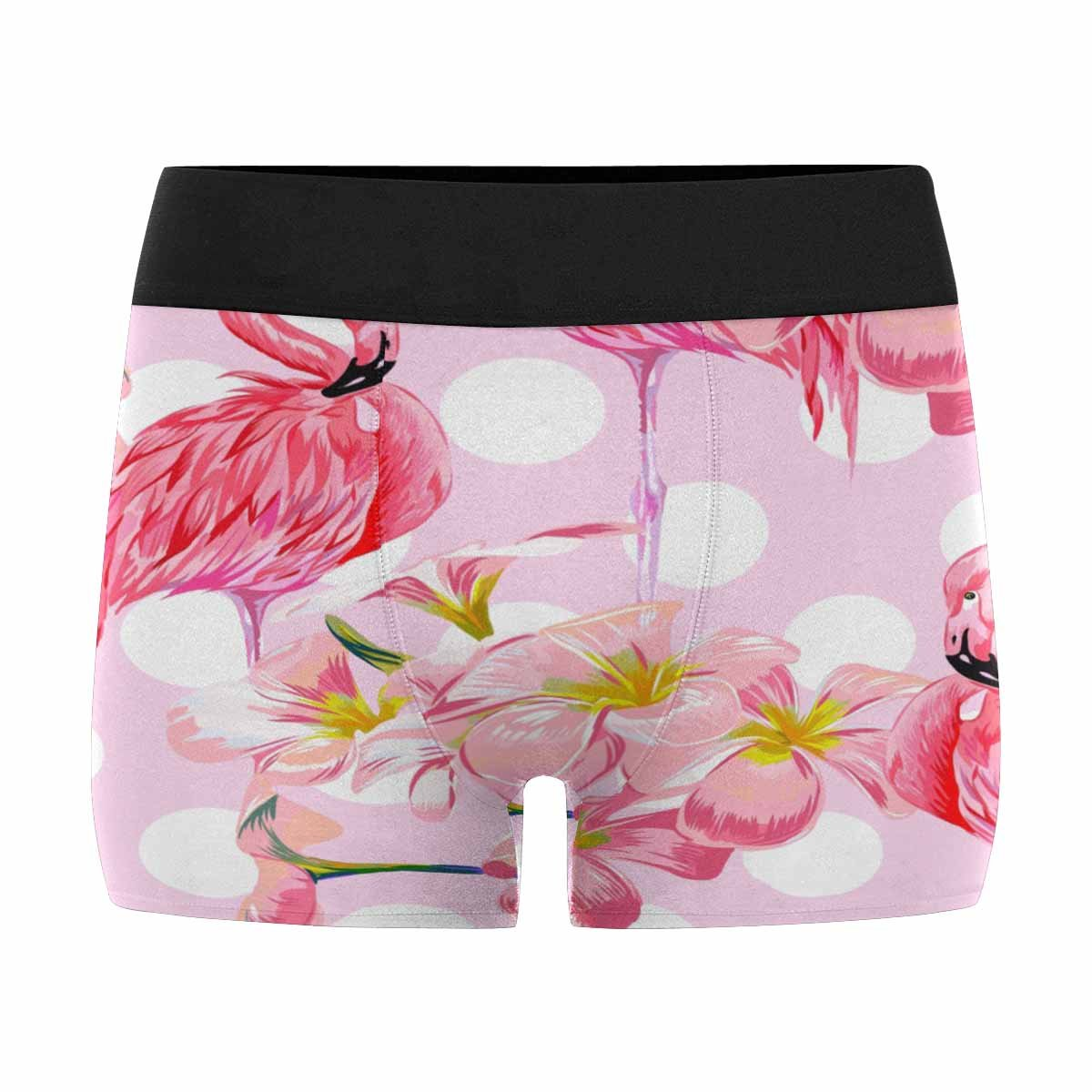 XS-3XL Tropical Flowers INTERESTPRINT Mens Boxer Briefs Beautiful Floral Pattern with Pink Flamingos Polka Dot