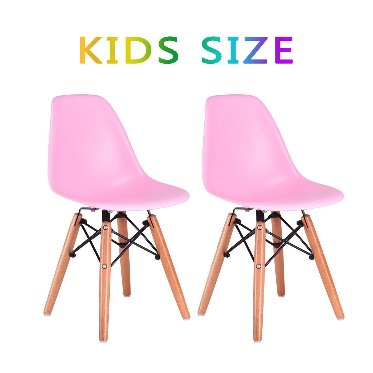 Custpromo Set of 2 Kids White Dining Chairs Mid Century Shell Chair Wooden Legs Armless Chairs (Pink)