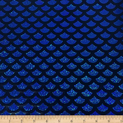 Pine Crest Fabrics Mermaid Glitter Foil Fabric, Blue, Fabric By The Yard