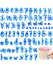 84Pcs Alphabet Cake Stamps, Capital Letters Digital Fondant Cake Molds Funny Font Numbers Special Characters Letter Stamp Set for DIY Cake Biscuits