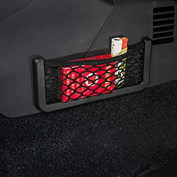 Tongxu 4 Bosillo de Malla para Almacenamiento de Coche Red de Malla Nylon El/ástico para Respaldo del Asiento S+L Negro