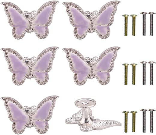 Run 6 Pieces Butterfly Knobs Metal Decorative Cabinet Drawer