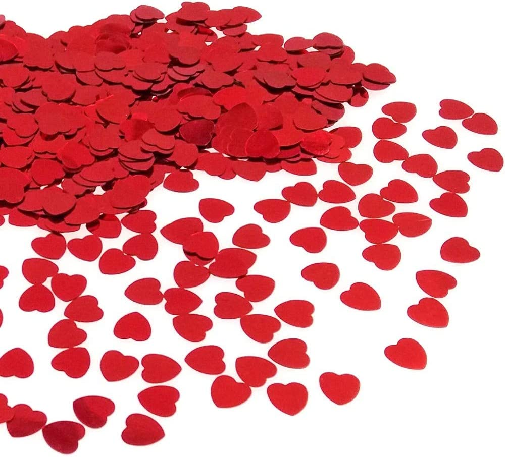 JZK 5000 pcs 1cm espumoso plástico Confeti corazón Rojo Decoracion Fiestas de Mesa para Bodas Compromiso cumpleaños San Valentín Bautizo
