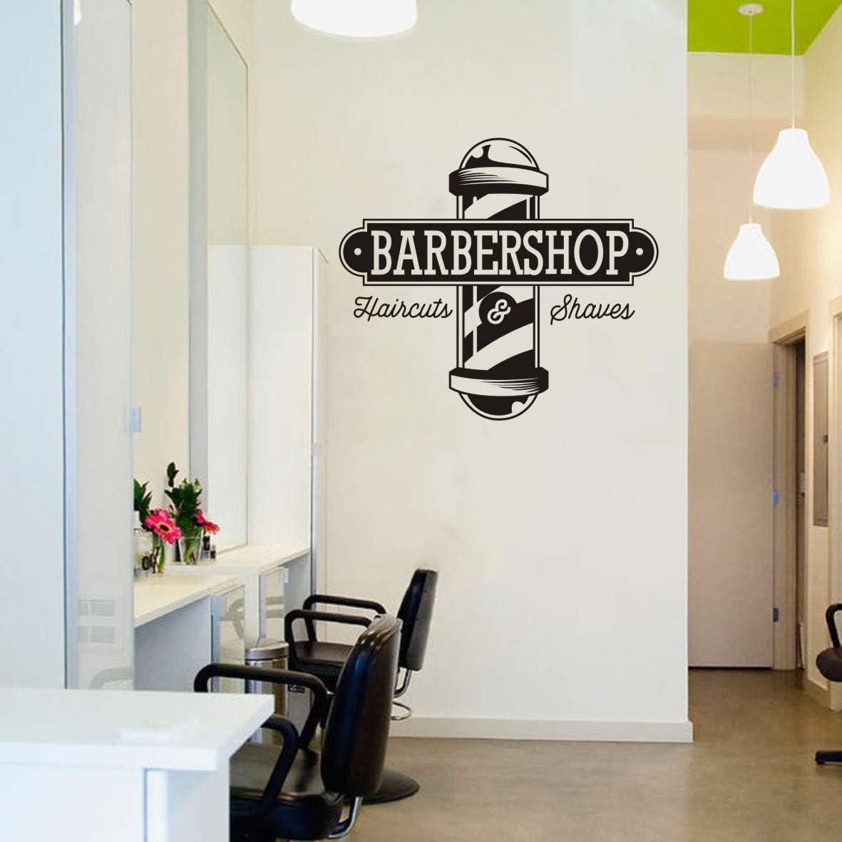 Vinyl Sticker Haircuts and Shaves Wall Decal Hairdresser Barbershop Logo Window Wall Mural Hair Salon AY1117 (57X62CM, Black)