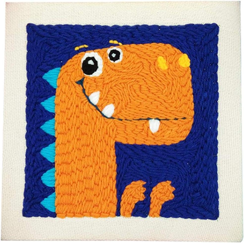 VOCHIC Punch Needle Embroidery Starter Kits Rug Punch Needle Tool Threader Fabric Yarn (Animal)