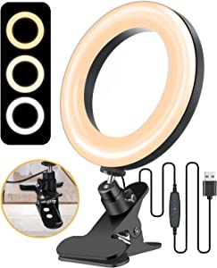 "ELEGIANT 6.3"" Selfie Ring Light with Clamp Mount for Desk, Bed, Office, Makeup, YouTube, Video, Live Steam & Broadcast, 3 Dimmable Color & 11 Brightness Level, 360 Degrees Rotatable"
