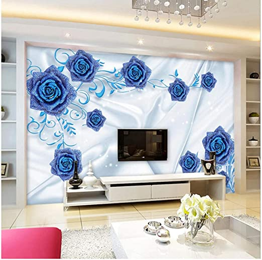 Amazon Com Xbwy Wallpaper 3d Stereo Blue Rose Jewelry Photo Wall Murals Living Room Tv Sofa Silk Wall Paper 250x175cm Kitchen Dining