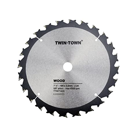 TWIN-TOWN 7-1/4-Inch 24 Tooth ATB Framing Saw Blade with 5/8-Inch ...