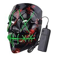Jullyelegant Funny LED Light Up Flash Mask Halloween Party Night Club Festival Men Women Costume Cosplay LED Novelties Mask DJ Mask