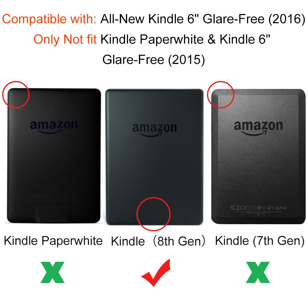 Basic Black Geometry Not Fit Kindle Paperwhite Young me All New Kindle E-reader Rechargeable Led Light and Auto Wake//Sleep and Hand Strap Leather Cover//Case for Kindle 2016 6 inch 8th generation