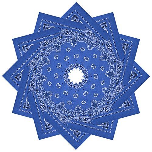 Alotpower Multipurpose Bandana Set Cotton Handkerchiefs for Decoration,12 Pack, Blue