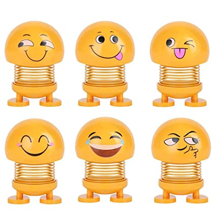 HOME CUBE Dashboard Decoration for Car, 6pcs Car Interior Decoration  Accessories, Funny Emoji Shaking Head Dolls for Car Dashboard Ornaments,  Party