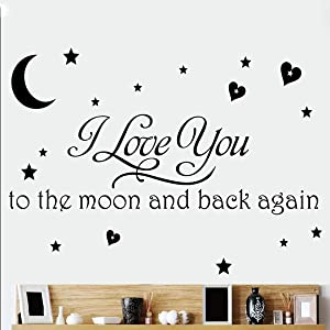 I Love You to The Moon and Back Again Inspirational Quotes Wall Decals Stars and Moon DIY Sticker for Home Nursery Decor