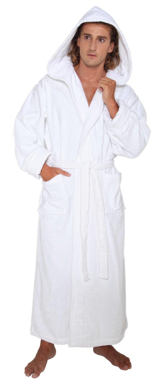 Arus Men's Hood'n Full Ankle Length Hooded Turkish Cotton Bathrobe L White