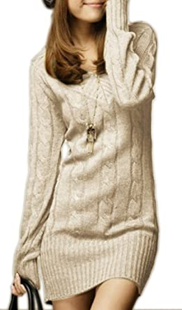best loved 4b23f 551aa Mikos*Sexy Damen Lang Tunika Pullover Strickpullover mit V-Ausschnitt Japan  Style Korea Fashion!! Langarm Pulli Lose Strickjacke Knitwear Sweater ...