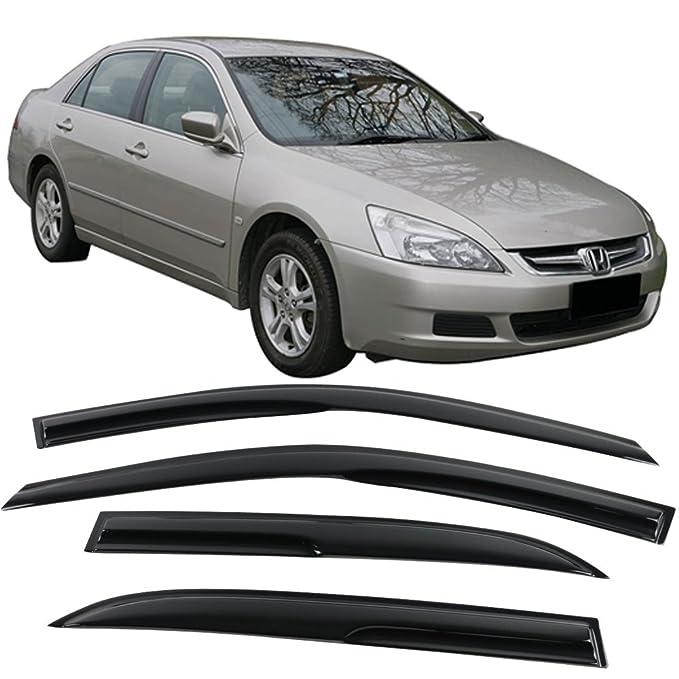 Window Visors Fits 2003-2007 Honda Accord | Full Set Mugen Style Smoked JDM Stick On by IKON MOTORSPORTS | 2004 2005 2006