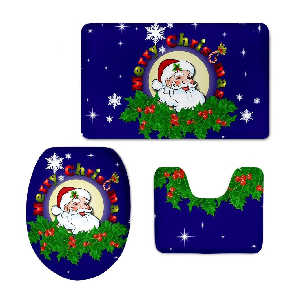 LLW WC Abdeckungen Set, 3 3 3 Teile   satz Glückliches Weihnachten Badezimmer Rutschfeste Druck WC Sitzbezug Aufkleber Removable Home Dekoration , B B07BP26LXZ Duschmatten 4b034b