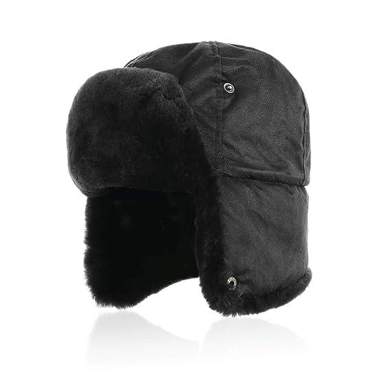 15b7f338f06 IKEPOD Shearling Sheepskin Pilot Aviator Russian Ushanka Winter Trapper Hat   Amazon.co.uk  Clothing