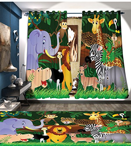 Fankichouse Zoo Thermal Insulating Blackout Curtain Animals in the Jungle Funny Expressions Exotic Comic Cheer Natural Habitat Illustration Patterned Drape For Glass Door Multicolor