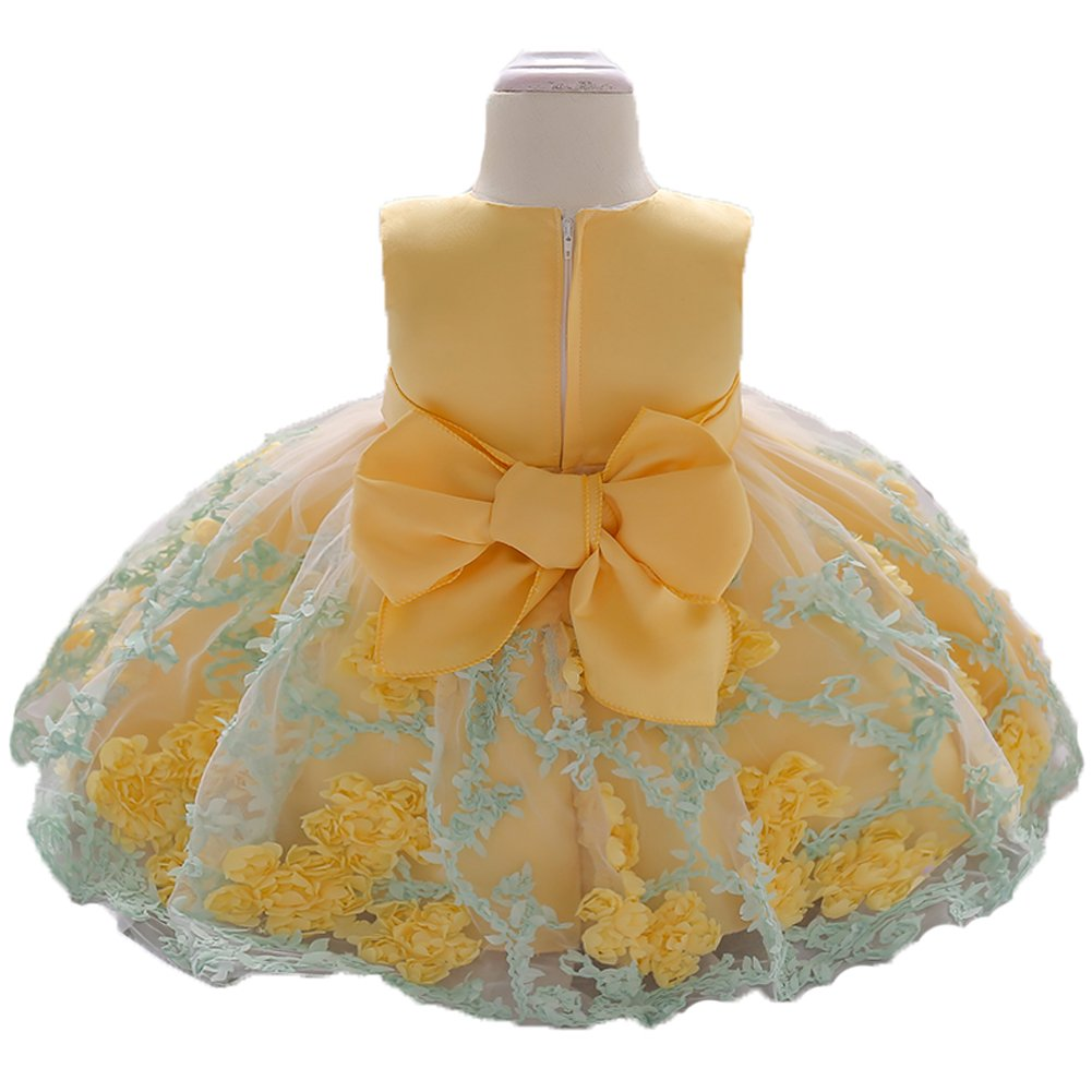 OURDREAM Baby Girls Wedding Pageant Dress Toddler Infant Holiday Prom Tutu Knee Length Dresses 12 18M (Yellow,80)