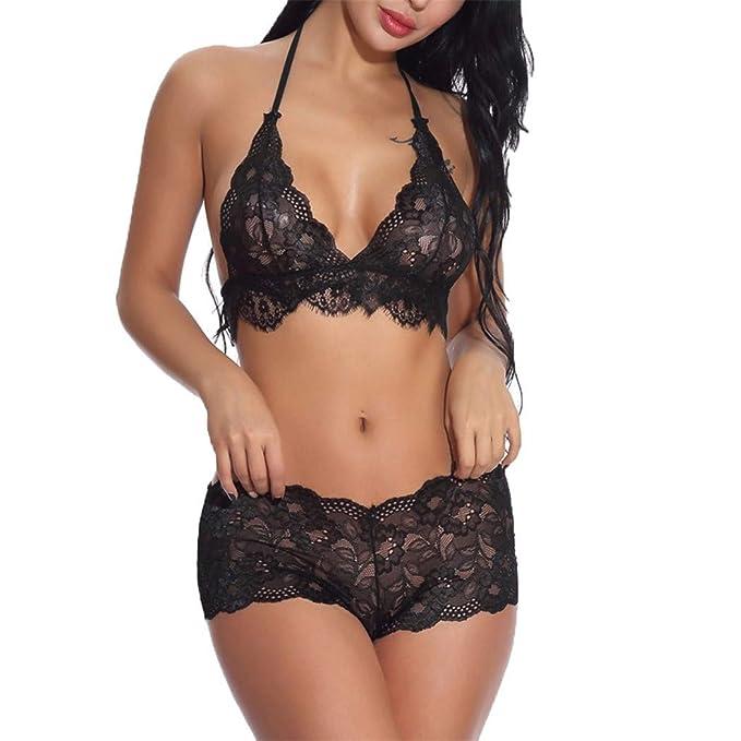 Hessimy Women Lace Lingerie Set Strap Babydoll Bralette Bra and Panty Set