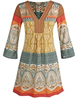 Women's Tunic Top - Marrakesh Orange, Yellow, And Blue Paisley Blouse