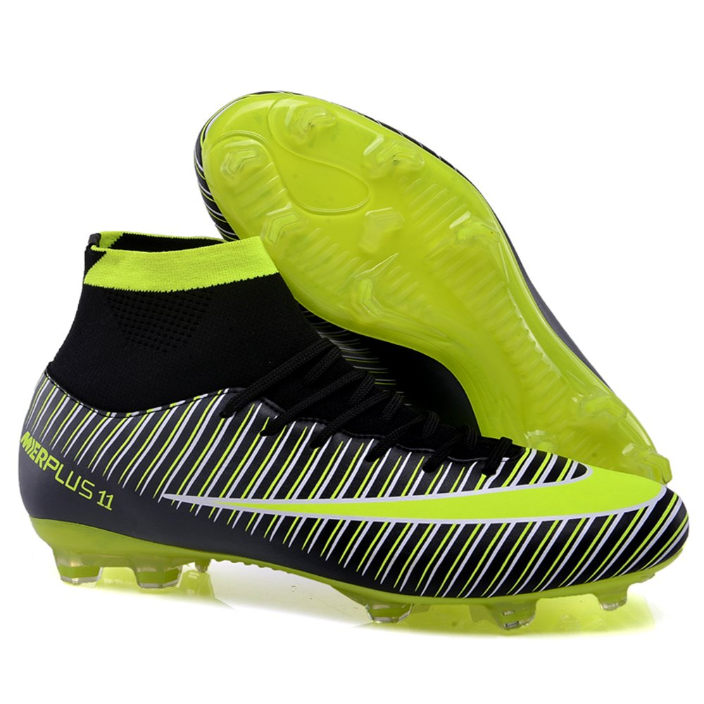 AUJESS New Soccer Shoes For Men 2018 High Top Superfly FG Soccer Cleats Outdoor Lightweight Football Boots Adult On Sale B07BDFRLQH US 10=EU 44=foot length 27cm|Black