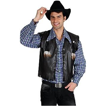 Para Adulto Chaleco Negro Vaquero Deluxe Disfraz WY29EDHI