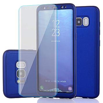 Adamarkeer Funda Galaxy S8 Carcasa 360 Grados Rígida Shockproof Slim Anti-rasguños Anti-Huella Cuerpo Completo Case + Protector de Pantalla TPU ...