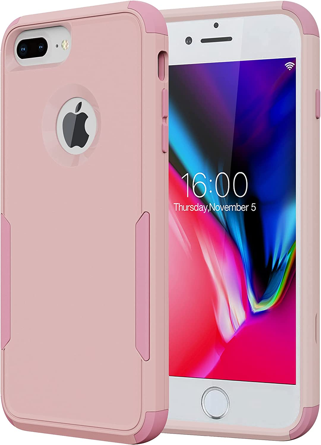 Diverbox Compatible with iPhone 8 Plus Case, iPhone 7 Plus Case [Shockproof] [Dropproof] Heavy Duty Protection Phone Case Cover for Apple iPhone 8 Plus & iPhone 7 Plus (Light Pink)