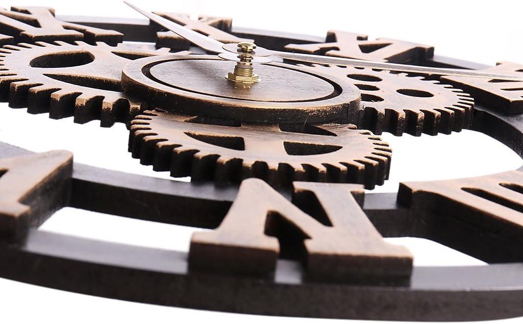 Gold-Roman, 12in HZDHCLH Wall Clocks 12 Inch Silent Roman Retro Gear Wood Clock for Bar Cafe Home