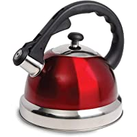 Claredale Stainless Steel Whistling Tea Kettle, 2.2 Quarts, Red, Claredale