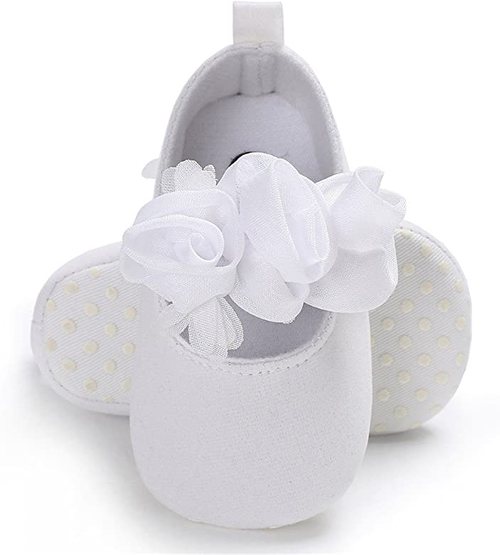 BENHERO Infant Baby Girls Mary Jane Shoes Soft Sole Floral Princess First Walking Wedding Dress Shoes