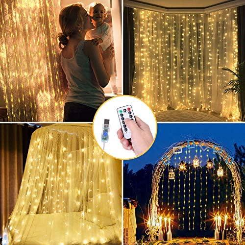 OUSFOT LED Lichtervorhang 3x3m Lichterkettenvorhang 300 LEDs mit Fernbedienung Warmweiß für Innen Deko Muttertagsgeschenk Party Hochzeit Verpackung MEHRWEG