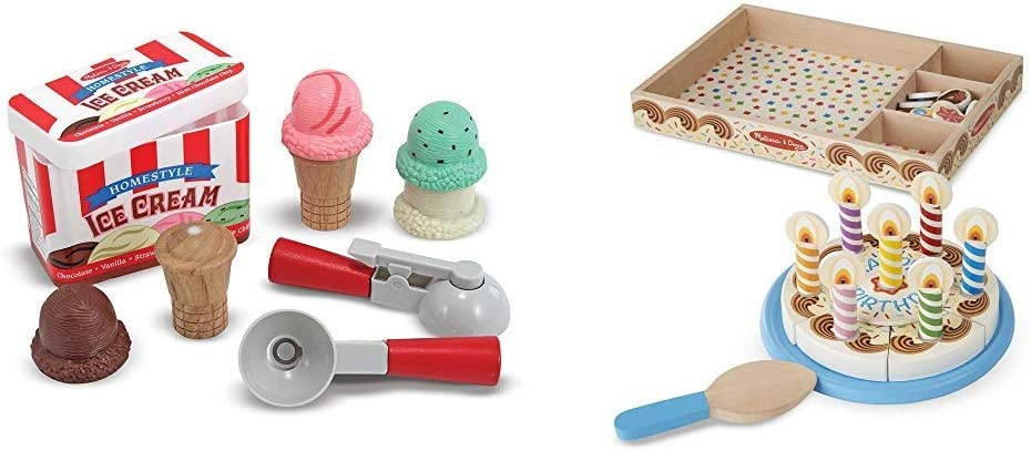 Melissa & Doug Scoop & Stack Ice Cream Cone Magnetic Pretend Play Set - The Original (Best for 3, 4, and 5 Year Olds) & Birthday Party Cake (Best for 3, 4, 5, and 6 Year Olds)