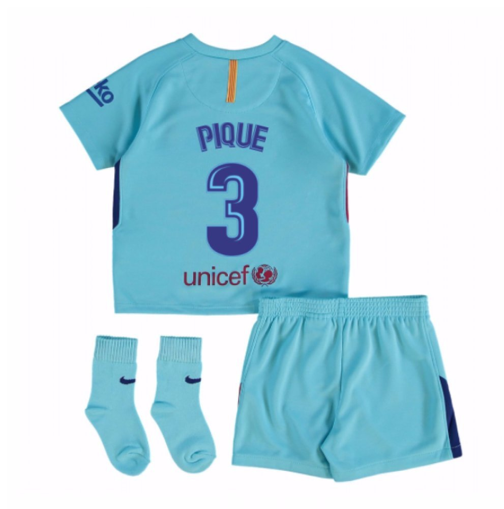 2017-2018 Barcelona Away Baby Kit (Pique 3) B077PVXNDQBlue 3/6 Months