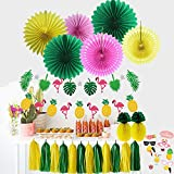 Summer Party Decoration Kit Paper Fans Tropical Party Flamingos and Pineapples Banners Tassel Garlands Hawaiian Luau Beach Supplies Sorive 45 Piece