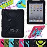 NEW Shockproof Dirt Snow Sand Proof Extreme Army Military Heavy Duty Cover Case Kickstand for Apple iPad 2 3 4 iPad  2/3/4 @XYG (3-black/black)