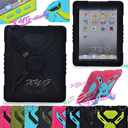 NEW Waterproof Shockproof Dirt Snow Sand Proof Extreme Army Military Heavy Duty Cover Case Kickstand for Apple iPad 2 3 4 iPad 2/3/4 @XYG (3-black/black)