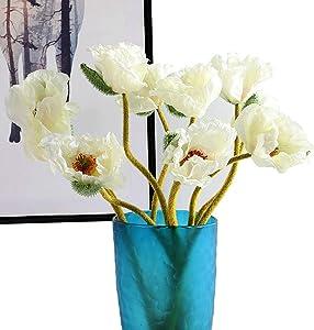 """Artfen 5 Pcs Artificial French Corn Poppy Silk Poppy Flocking Long Stem Flowers Home Wedding Party Decor 25"""" High No Vase Elegant White"""