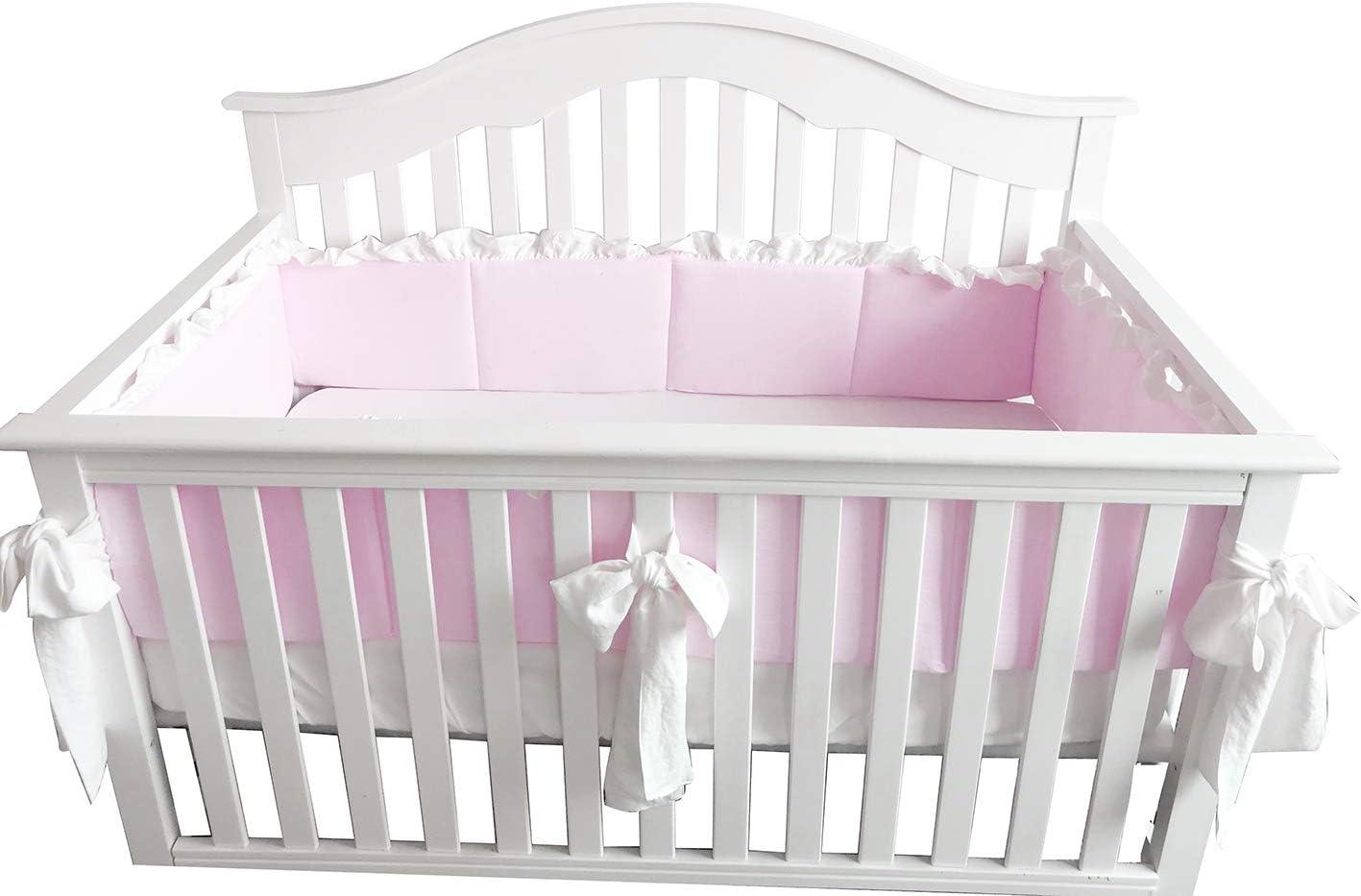 Blush Coral Pink Ruffle Crib Bedding Set Baby Girl Bedding Blanket Nursery Crib Skirt Set Baby Girl Crib Bedding Sheet (Pear Pink, Bumper with Big Bows)