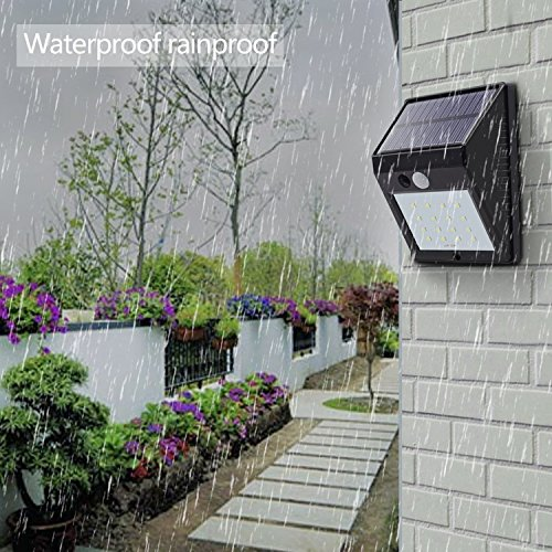6500k Outdoor Mini Wall Lights for Garden Patio Yard with Motion Activated Auto On//Off JESLED 20 LED Solar Sensor Light 1-Pack