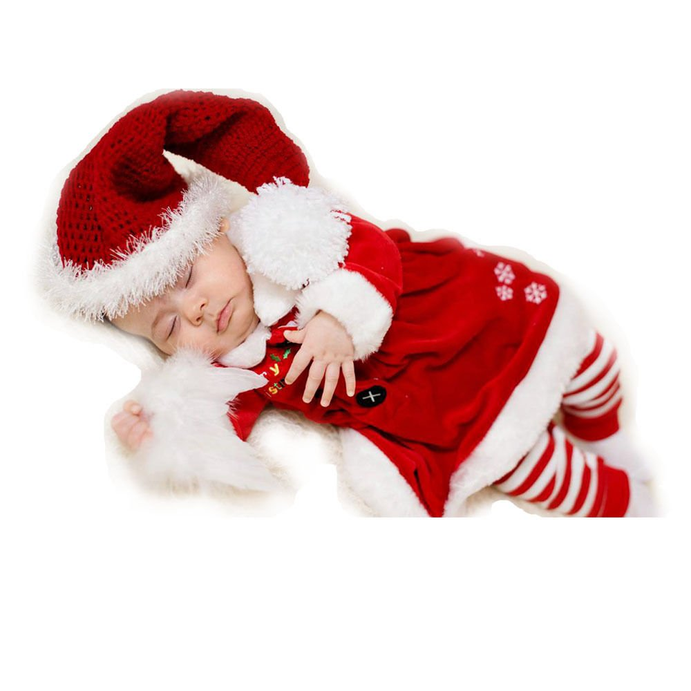 Amazon com cute newborn christmas baby boy girl elf costume crochet hat rompers clothes set baby