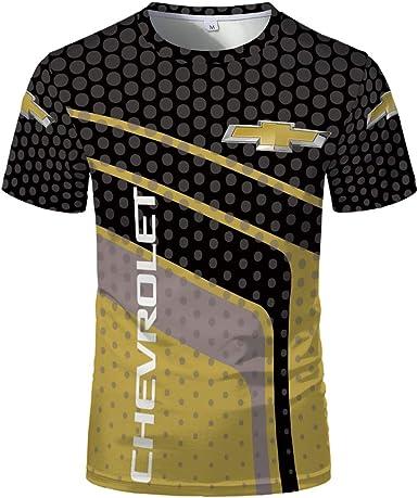 Camiseta De Manga Corta con Cuello Redondo De Verano para Hombre Chevrolet Camiseta con Estampado De Puntos En Contraste Camiseta De Moda Sencilla Y ...