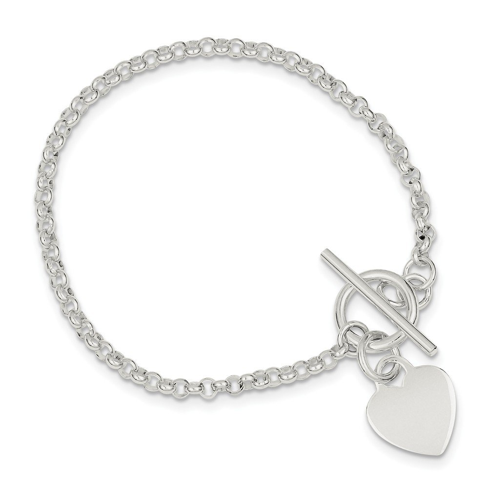 925 Sterling Silver Heart Bracelet 7.5 Inch Charm W/charm/love Fine Jewelry Gifts For Women For Her